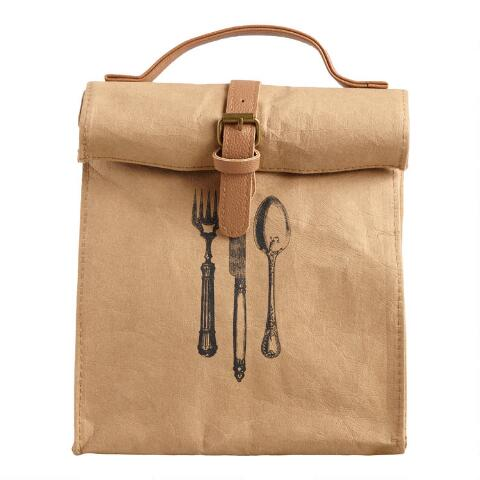 Insulated Faux Paper Lunch Bag