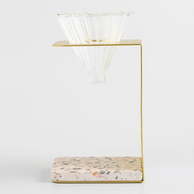Terrazzo Pour Over Coffee Stand with Glass Dripper