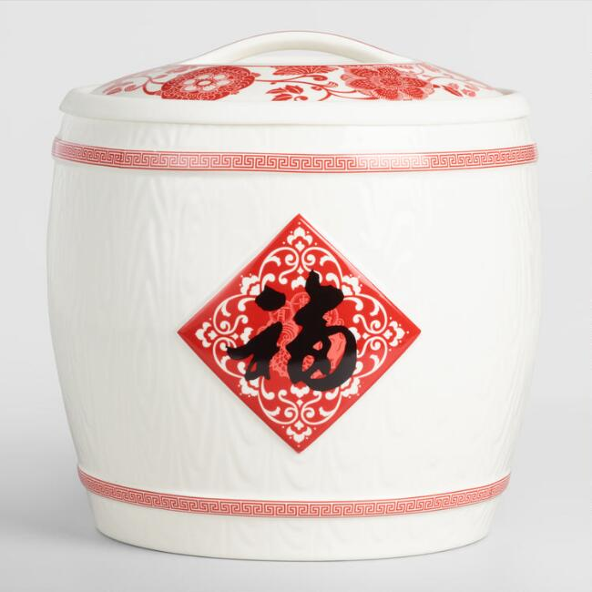 Red Floral Porcelain Rice Storage Container