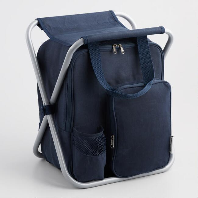 Blue Canvas Insulated Cooler Backpack Chair