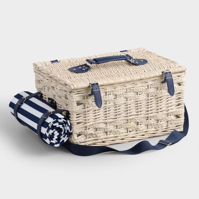 Navy Stripe Wine and Cheese Insulated Willow Picnic Basket