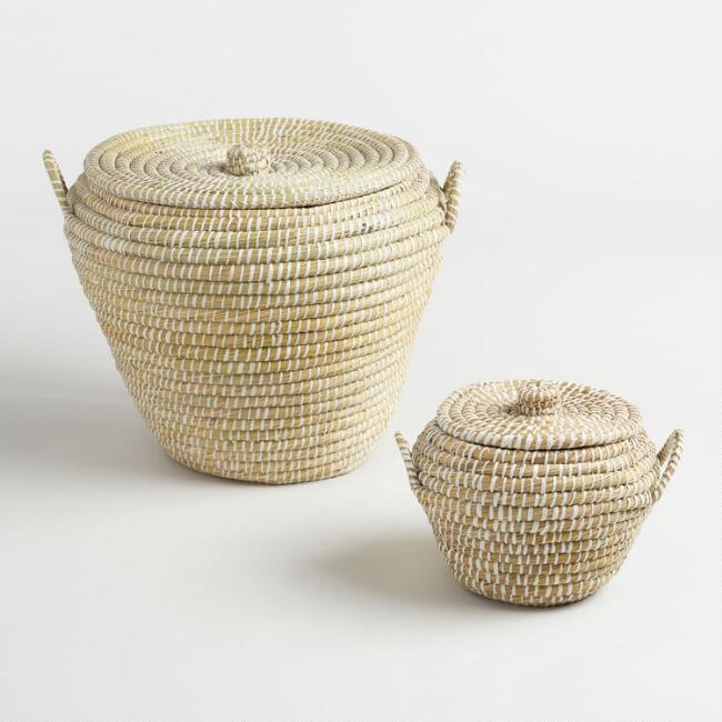 White and Natural Seagrass Paige Tote Baskets with Lids