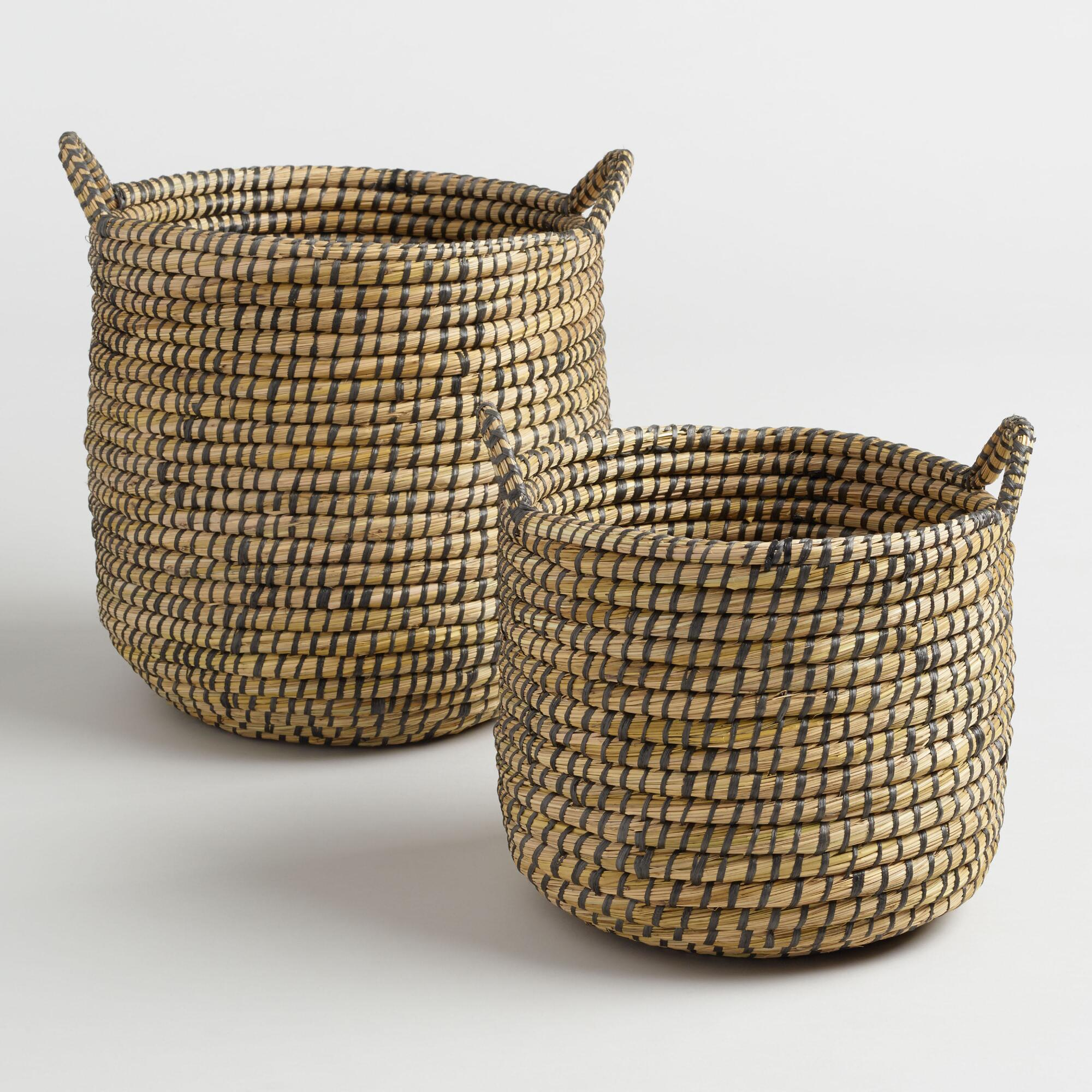 Espresso and Natural Seagrass Paige Tote Baskets - Small by World Market Small