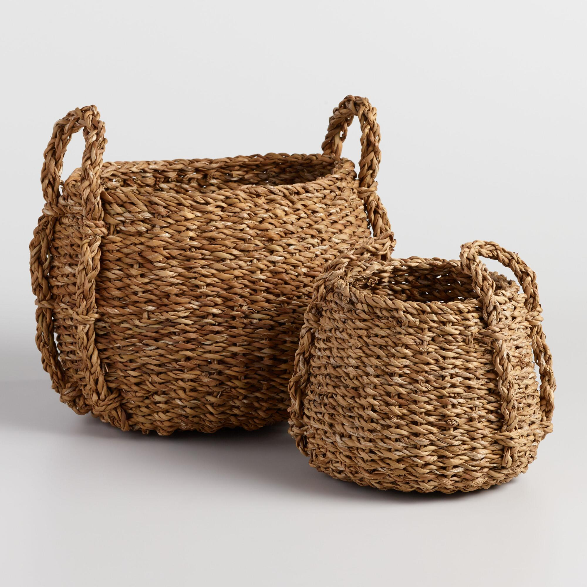 Natural Seagrass Round Jade Tote Baskets - Medium by World Market Medium