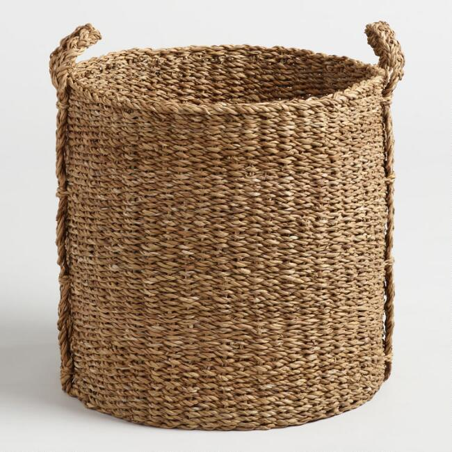 Large Natural Seagrass Jade Tote Basket