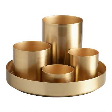 Gold 4 Cup Kiara Desk Organizer with Tray