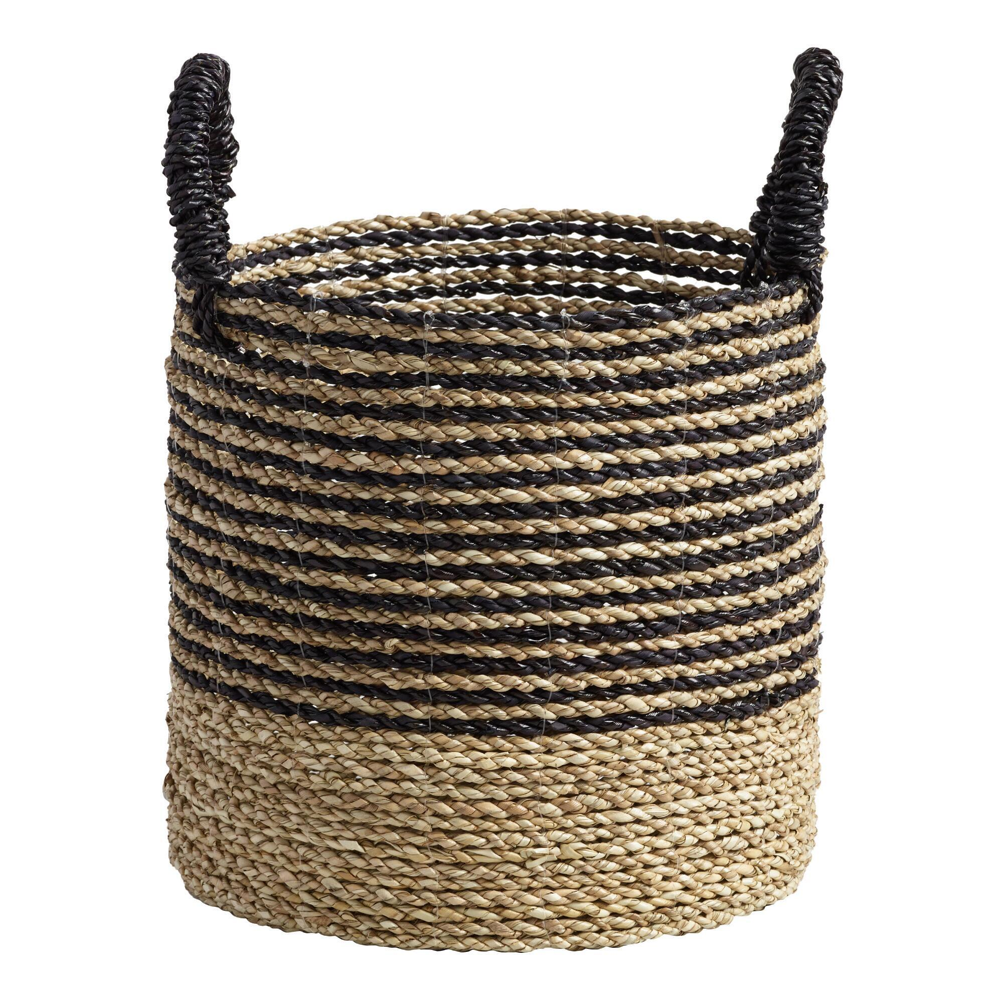 Small Black and Natural Seagrass Calista Tote Basket: Black/Natural by World Market
