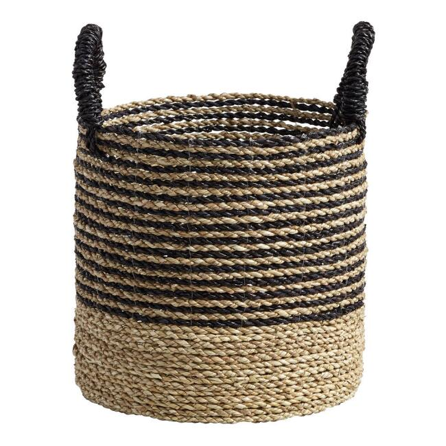 Small Black and Natural Seagrass Calista Tote Basket