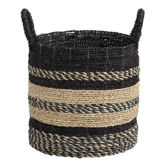 Shop Medium Black and Natural Seagrass Calista Tote Basket from World Market on Openhaus