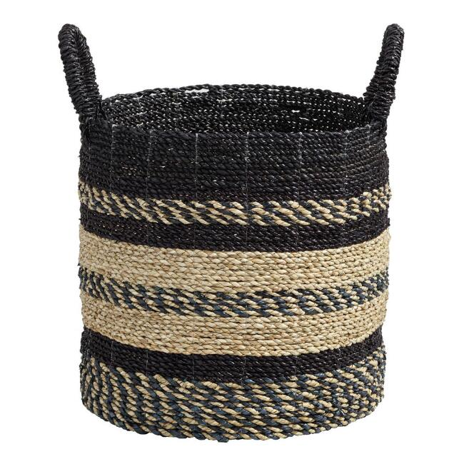 Medium Black and Natural Seagrass Calista Tote Basket