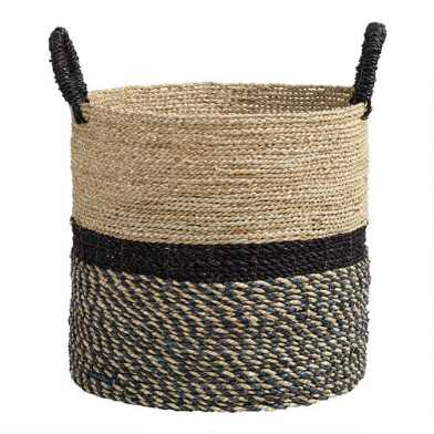 Large Black and Natural Seagrass Calista Tote Basket
