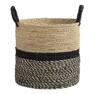 faf5089c54a4a Large Black and Natural Seagrass Calista Tote Basket