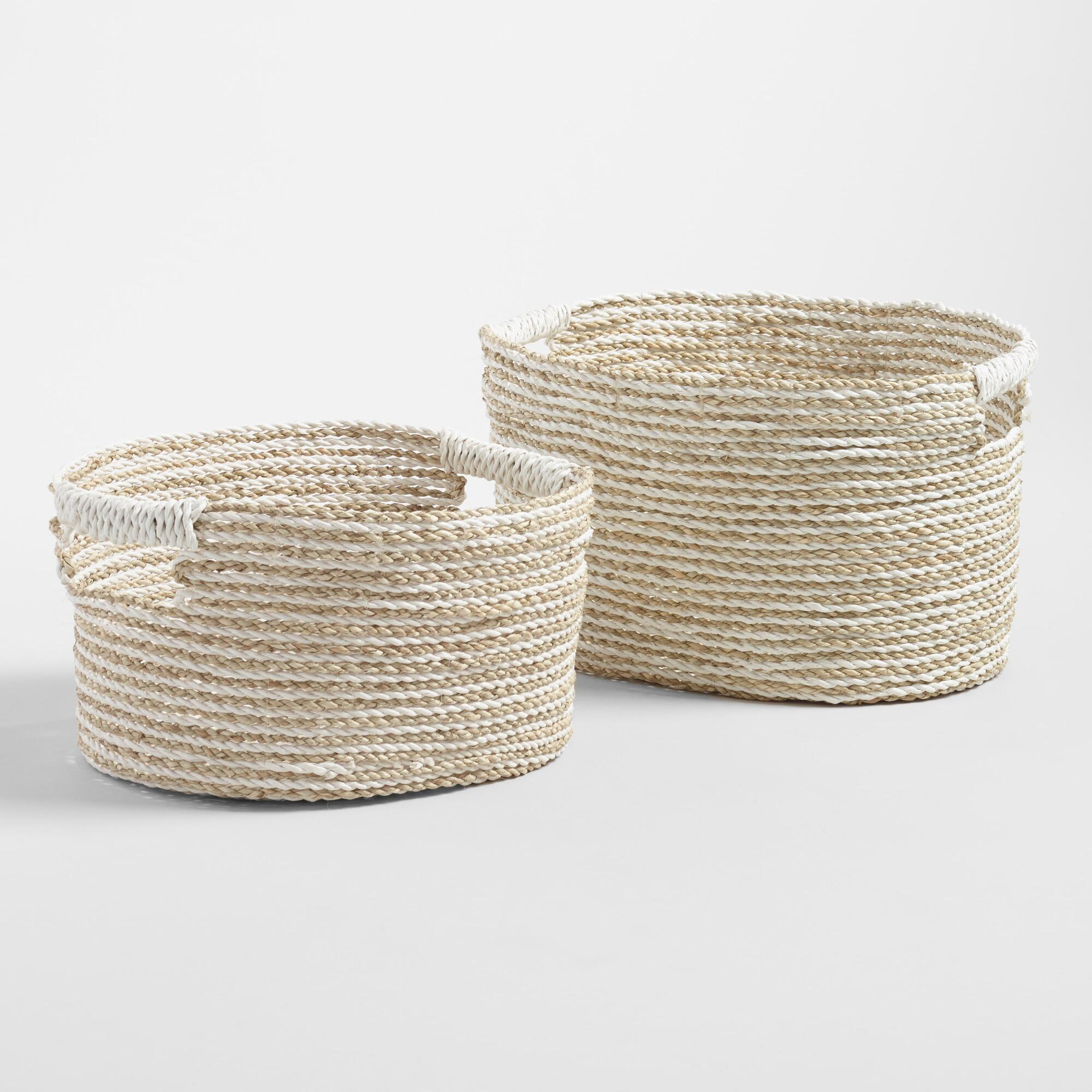 White and Natural Seagrass Bianca Utility Baskets - Small by World Market Small