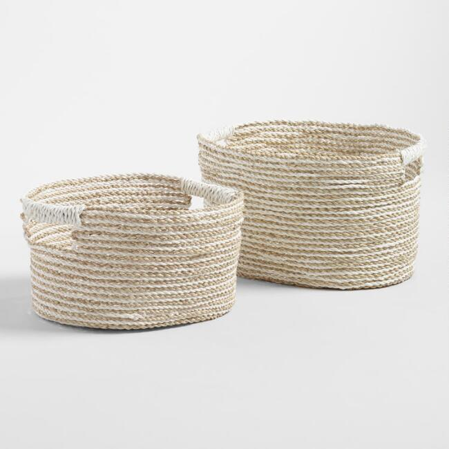 White and Natural Seagrass Bianca Utility Baskets