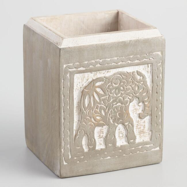 Carved Wood Elephant Pencil Cup