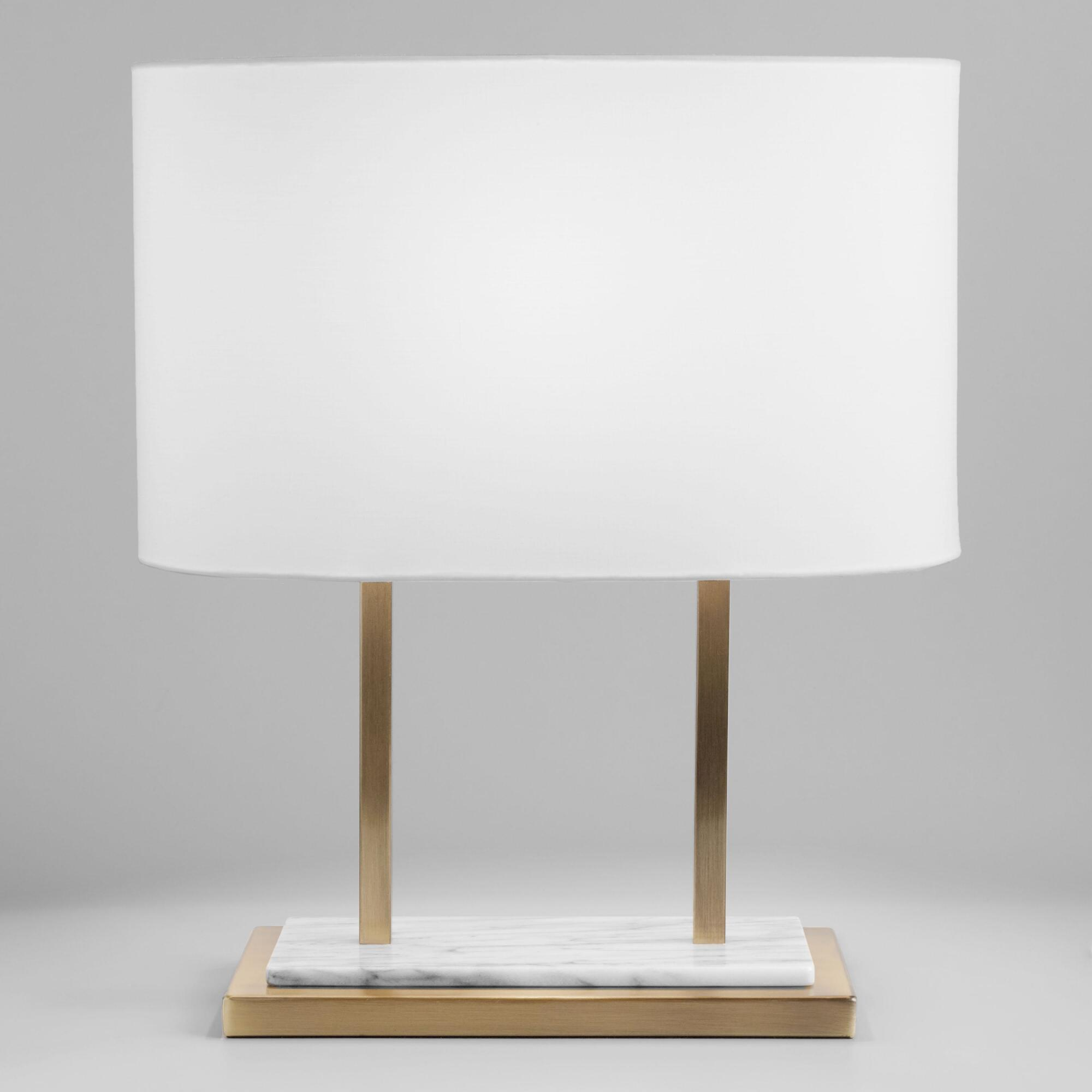 White Marble and Brass Karlyn Table Lamp and Shade Set by World Market
