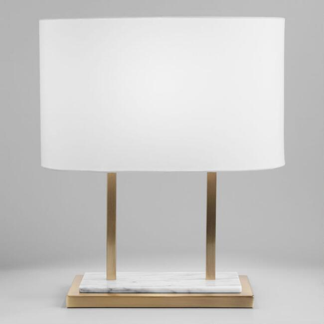 White Marble and Brass Karlyn Table Lamp and Shade Set