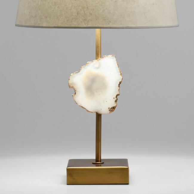 Natural Agate and Brass Accent Lamp Base