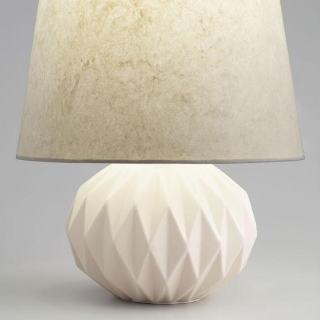 White Geometric Ceramic Lucia Accent Lamp Base