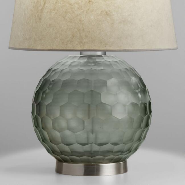 Smoke Gray Faceted Glass Orb Freya Table Lamp Base