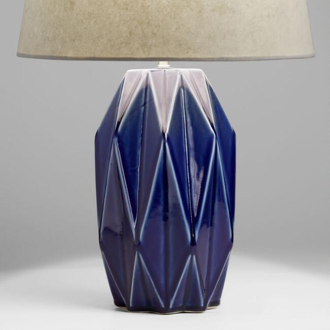 Azure Blue Geometric Ceramic Table Lamp Base