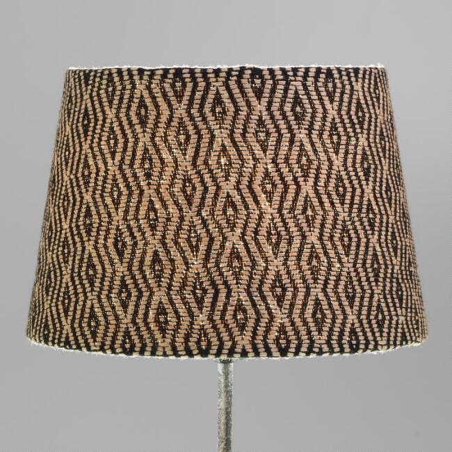 Black and Tan Diamond Woven Accent Lamp Shade
