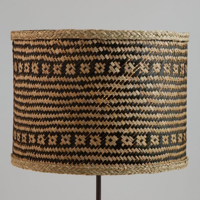 Black Stripe Woven Seagrass Drum Table Lamp Shade World