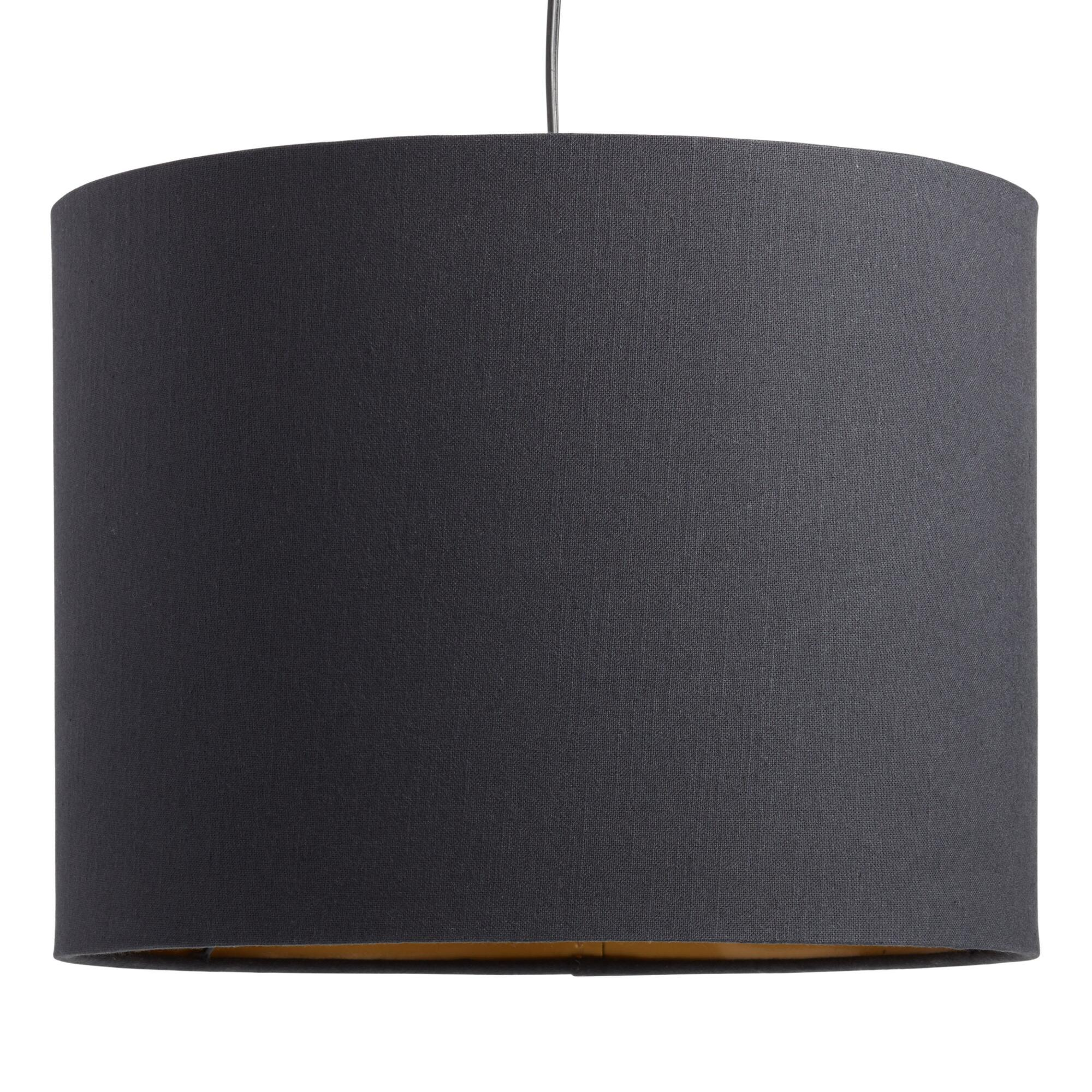 Black Linen Drum Table Lamp Shade by World Market