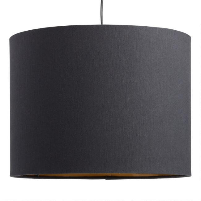 Black Linen Drum Table Lamp Shade with Gold Lining