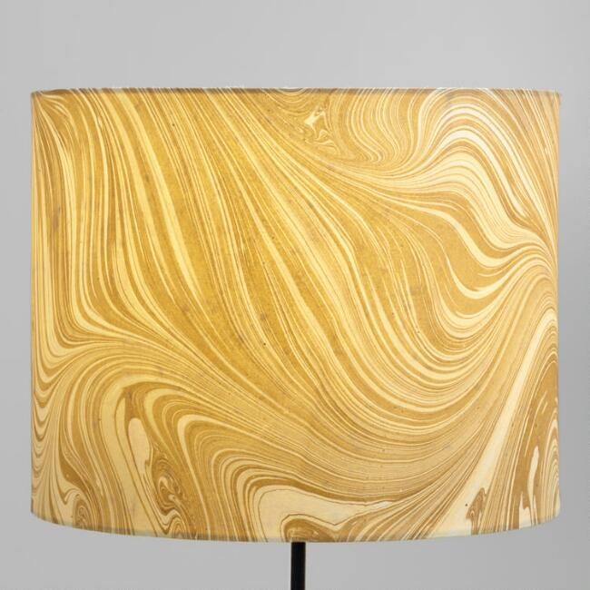 Marbled Gold Drum Table Lamp Shade
