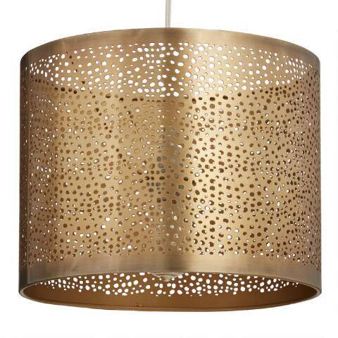 Pierced Antique Br Drum Table Lamp Shade