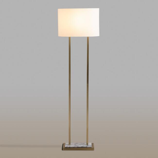 White Marble and Brass Karlyn Floor Lamp and Shade Set