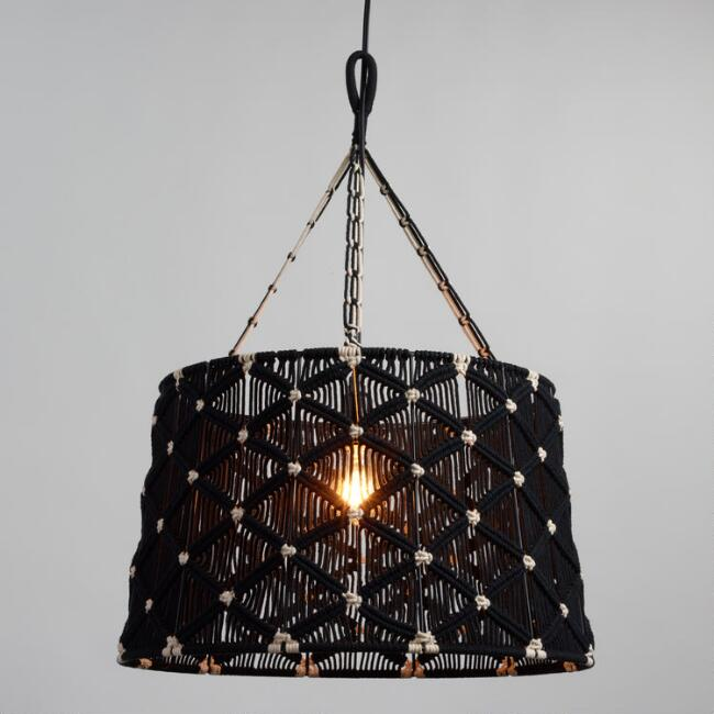 Black Diamond Macrame Pendant Shade
