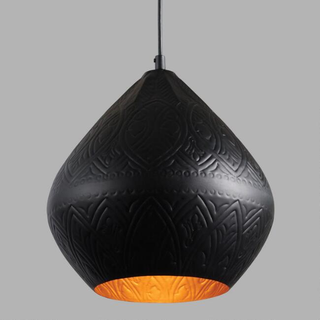 Black and Gold Teardrop Sachi Pendant Lamp