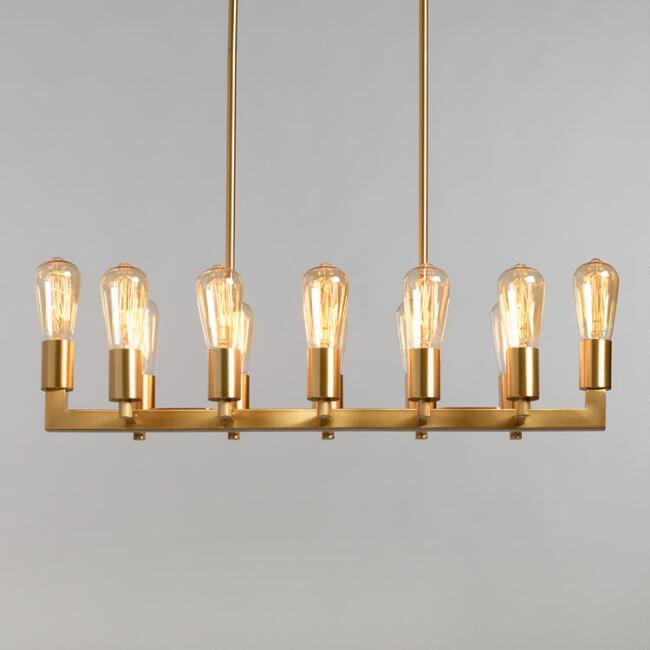 Gold Linear 12 Light Adjustable Height Reya Chandelier