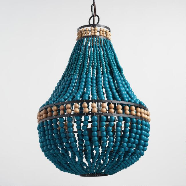 Turquoise Wood Bead Teardrop 3 Light Chandelier