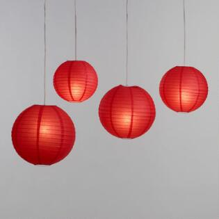 Red Round Collapsible Paper Lantern