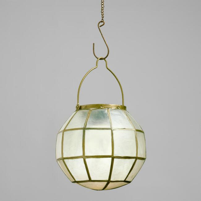 Round Gold Capiz LED Battery Operated Lantern