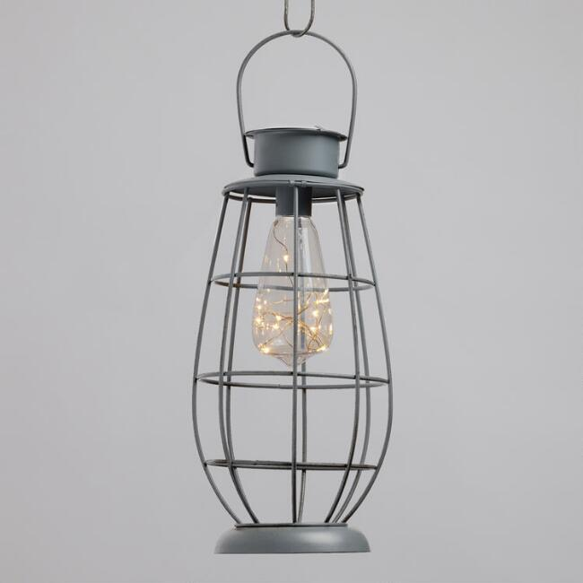 Gray Metal Hurricane Solar Micro LED Lantern