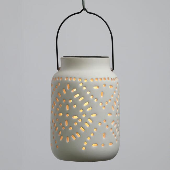 White Pierced Ceramic Cylinder Solar LED Lantern