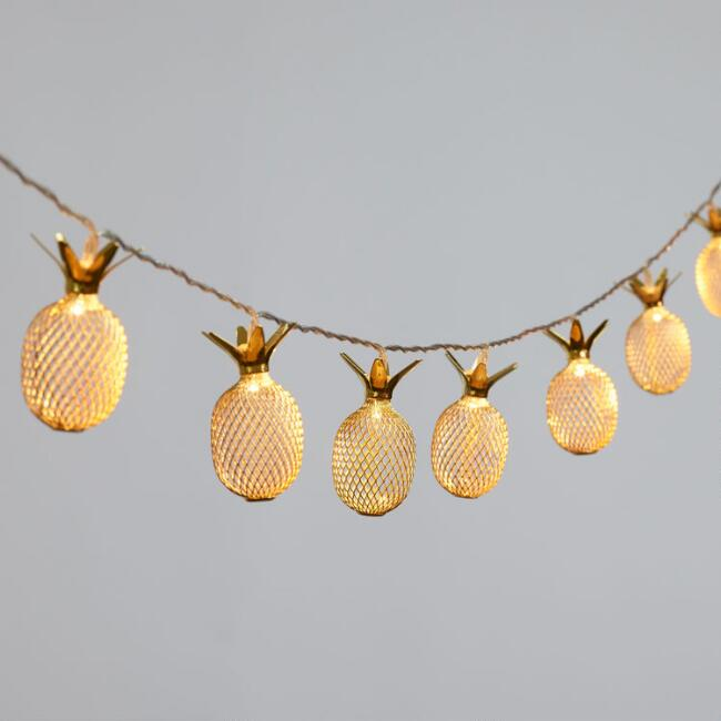 Gold Pineapple Micro LED Battery Operated String Lights