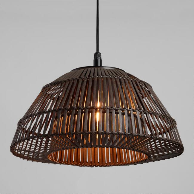 Gray Woven Rattan Dome Outdoor Pendant Shade