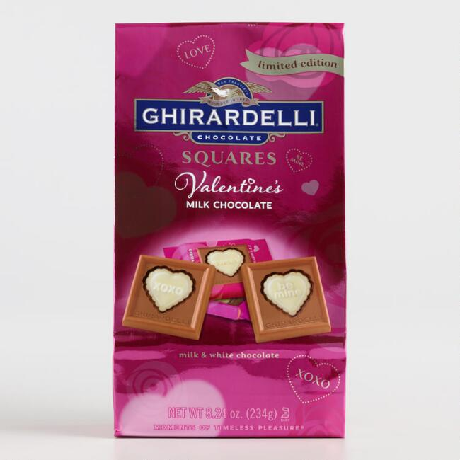Ghirardelli Milk and White Chocolate Valentine Squares
