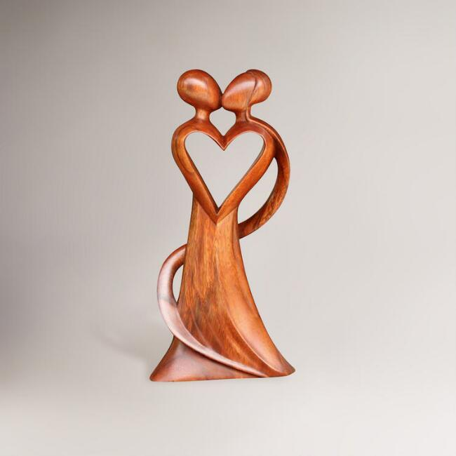 Novica 'My Heart and Yours' Wood Statuette