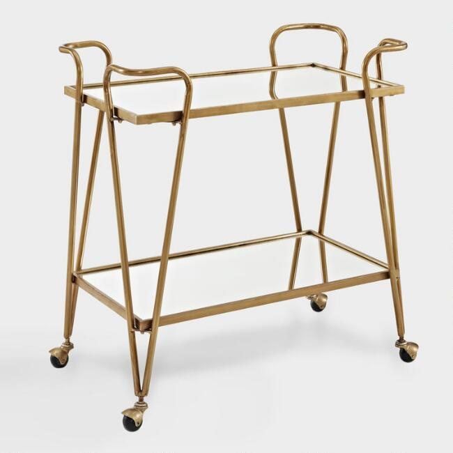 Gold Mid Century Bar Cart