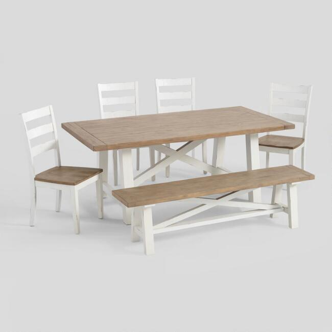 Two Tone Wood Camilla Farmhouse Dining Collection