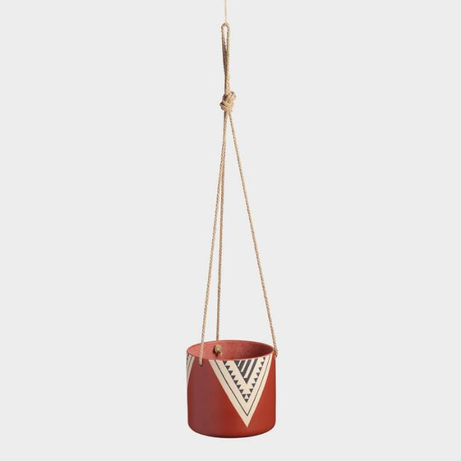 Red Tribal Ceramic Hanging Planter