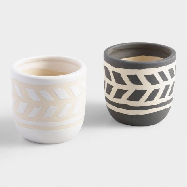 Round Black and White Tribal Ceramic Cachepots Set of 2
