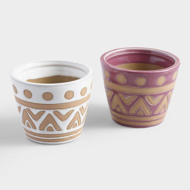 Raspberry and White Tribal Ceramic Cachepots Set of 2
