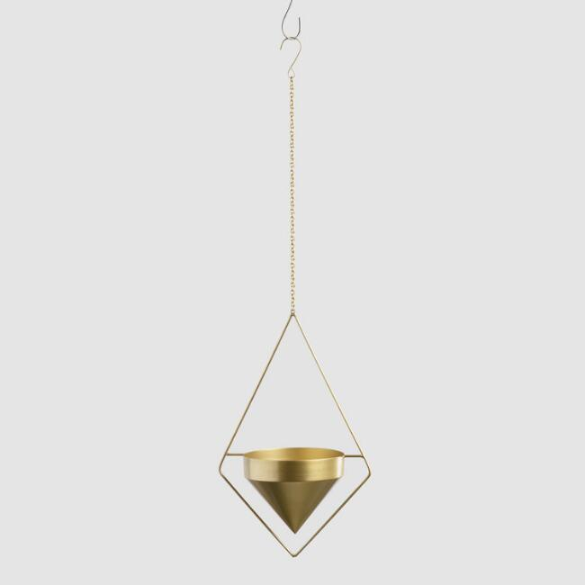Brass Triangular Hanging Planter